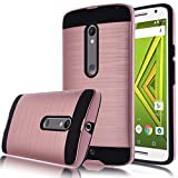 Moto X Play Case,Kmall [Metal Brushed Texture] Slim Impact Resistant Heavy Duty Hybrid Dual Layer Full-Body Shockproof Protective Cover Shell For Motorola Droid Maxx 2/Moto X Play/X3 Lux [Rose Gold]