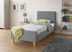 Deerchair Furniture ASHBOURNE BED UPHOLSTERED GREY HOPSACK FABRIC BEDSTEAD MODERN STYLE 3FT MATTRESS NOT INCLUDED