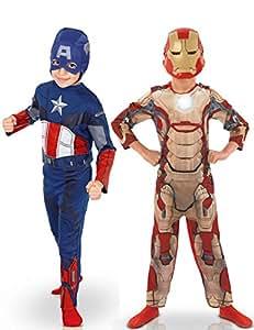 Marvel - 154716m - Déguisement Pour Enfant - Bi Pack - Avengers Captain America + Iron Man - Taille M