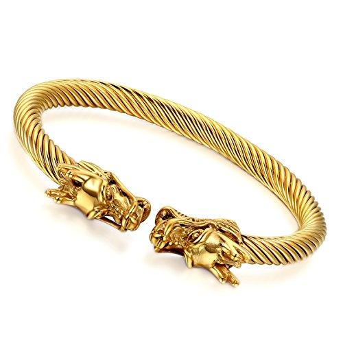cupimatch Herren Luxus Gold Ton Double Dragon Elastic Edelstahl Verdrehte Kabel Manschette Armreif Armband 23,1cm -