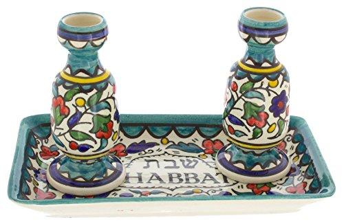 Armenische Keramik Sabbat Leuchter mit Tablett Colourful Flowers, Green -