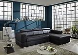 Dreams4Home Ecksofa 'Asra' - Ecksofa, Couch, L-Form, Recamiere rechts oder links,Rückenlehne einzeln verstellbar,Schlaffunktion,Sofa,Wohnzimmer,Polstergarnitur,Gästezimmer,Wellenfederung, Stellmaß BxT: 280 x 175 cm, in Kunstleder schwarz, Aufbauvariante:Mit Schlaffunktion Recamiere links davorstehend