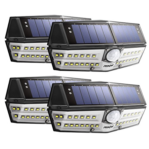 Solarlampe für Außen【 Klassik-Version】 Super Hell, Mpow Solarleuchte mit 120°Bewegungsmelder, IP67 Schutzart, 270 °Weitwinkel, Solarlicht,Wandleuchte für Garten, Auffahrt, Hof, Garage - 4 Stück