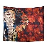 Alumuk Wandteppich Afrika Elefant, Wandtuch Sonnenuntergang Tiere Afrika Rot mit Psychedelic Hippie Stil, mehrfarbige Tapisserie Wandbehang aus Baumwolle (150 x 130 cm, rot Blume Elefant)