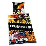Herding Young Collection Bettwäsche-Set, Feuerwehr Wendemotiv, Bettbezug 135 x 200 cm, Kopfkissenbezug 80 x 80 cm, Baumwolle/Renforcé
