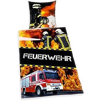 Herding 445933050 Bettwäsche Feuerwehr, Kopfkissenbezug: 80 x 80 cm mit Bettbezug: 135 x 200 cm, 100 % Baumwolle, Renforce