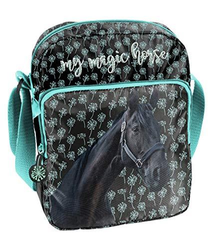 Ragusa-Trade Pferde Fan Mädchen Kinder - Handtasche Schultertasche Umhängetasche (19KN), schwarz/blau, 24 x 18 x 7 cm - Kind Handtasche