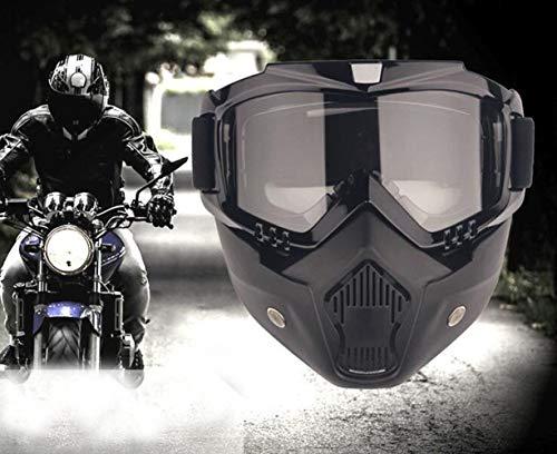 YIQI Maschera per Occhiali da Moto con Maschera Rimovibile, Occhiali Rimovibili a Prova di Nebbia Caldi Filtro per la Bocca Cinturino Antiscivolo Regolabile (Montatura Nera, Lenti Grigie)