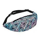 VENMO Riñoneras de Moda Impresión Deportes Caminar Correr Bolso Cinturón de la Cintura (Azul F)