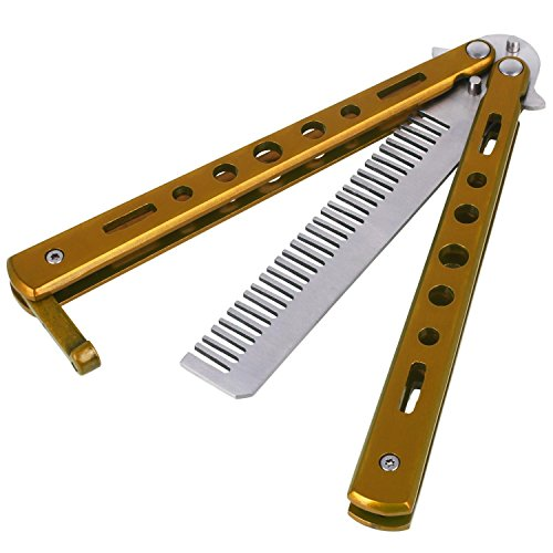 Cewaal Edelstahl Metall Praxis Balisong Schmetterling Comb Knife Trainer Training Werkzeug (Gold)