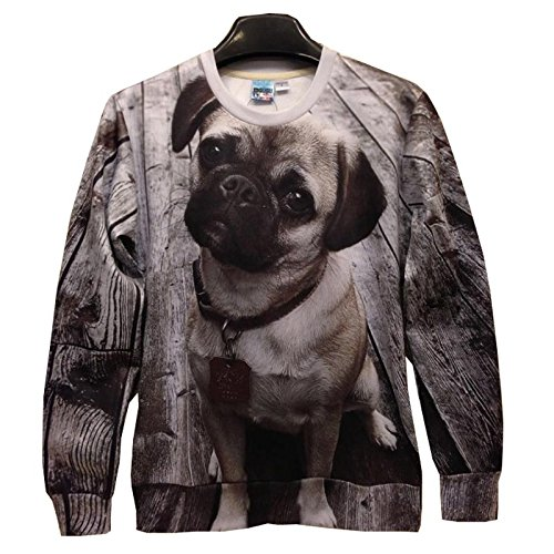 (Neue Frauen/Männer drucken Mops Hund 3D-hoodies Pullover casual 3d-Pullover Tops Asien S/M/L/XL, Hund, XL)