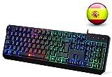 KLIM Chroma - Teclado Gaming en ESPAÑOL - USB - Alto rendimiento - Teclado Retroiluminado para Juegos - PC PS4 Windows Mac - Nueva 2019 Versión