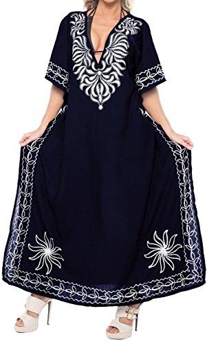 LA LEELA Mujeres caftán Rayón túnica 3D HD Impreso Kimono Libre tamaño Largo Abaya Vestido Jalabiyas de Fiesta para Loungewear Ropa de Dormir Playa Todos los días Cubrir Vestidos Azul Marino_L364