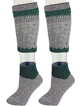 Loferl Trachtensocken Grau und Dunkelgrün - Schöne zweiteilige Loferl Strümpfe bestehend aus Socken und Wadenwärmer