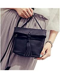Zoonai Women Small Bucket Crossbody Shoulder Bag Purse With Tassel Accent