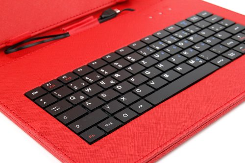 10 Zoll Hülle mit QWERTZ-Tastatur für SAMSUNG Galaxy Tab 4 10.1 (SM-T535) Tablet PCs (ROT) - 3