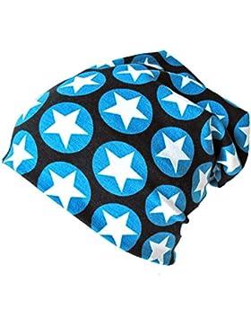 WOLLHUHN ÖKO Long-Beanie, Wende-Mütze, ganzjährig, mit coolen Sternen in blau/schwarz für Jungen und Mädchen,...