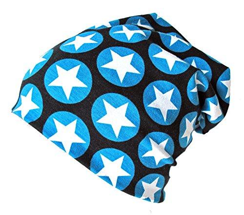 Wollhuhn ÖKO Long-Beanie, Wende-Mütze, ganzjährig, mit coolen Sternen in blau/schwarzfür Jungen und Mädchen, 20141214, Größe XS: KU 42/46 (ca 6 Mon. bis 2 Jahre)