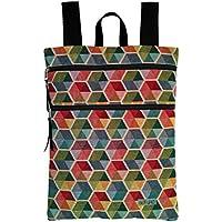Mochila mujer de tela tapicería hexágonos, mochila plana con cremalleras, perfecta para ...