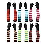 #4: Footmate Girl's Elbow length Stripes Hand Gloves - 2 Pair Pack