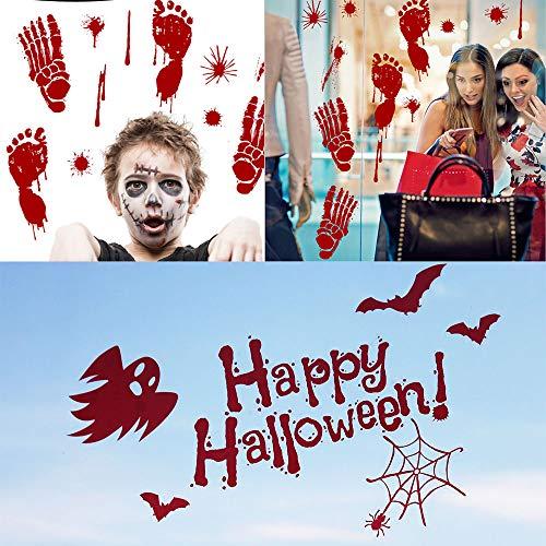V-RULE Halloween Dekoration Set- Zombie Scars Temporäre Tattoos (11 Blatt) - Halloween Blut Drucke Fenstersticker - Halloween Spinnweben - Halloween Ballone Party - 4