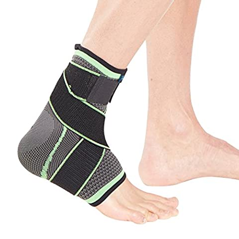 Actesso Sports Ankle Support Sleeve with wrap around strap (Small- Large) - the Ultimate Support for Sprains, Strains and Sports injury including football running walking & more- Small - Green