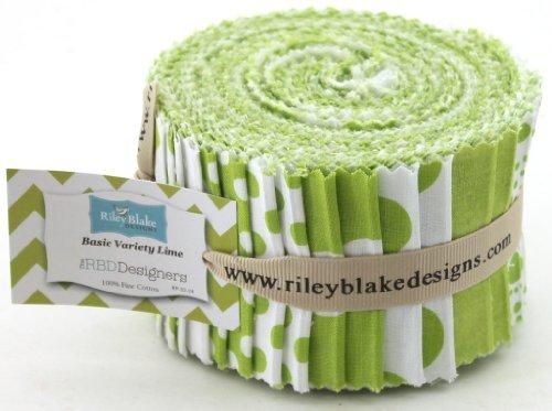 Riley Blake BASIC LIME GREEN Chevrons spots Gingham Fabric Blender Fabric Quilting Fabric Jelly Roll, zusammengerollter Patchworksteppstoffbündel - Hellgrün & Weiss – Stoffteile je 6,5x 110cm, 24Stück