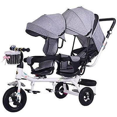 WU Doble Triciclo Doble Asiento Infantil Bicicleta Cochecito de Bebé Doble 1-7 Años Coche de Bebé
