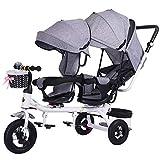 WU Zwillingsdreiradkinder Doppelsitz Fahrrad Zwillingskinderwagen 1-7 Jahre Altes Babyauto,Grau,1