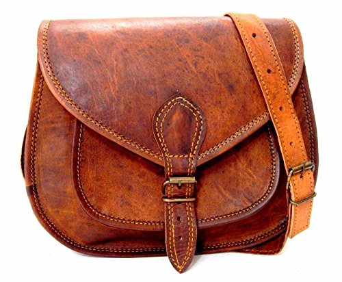 - 51R9XgxjdBL - Handmade Genuine Leather Ladies Satchel Purse Handbag Vintage Cross-body Bag – Free Surprise Gift