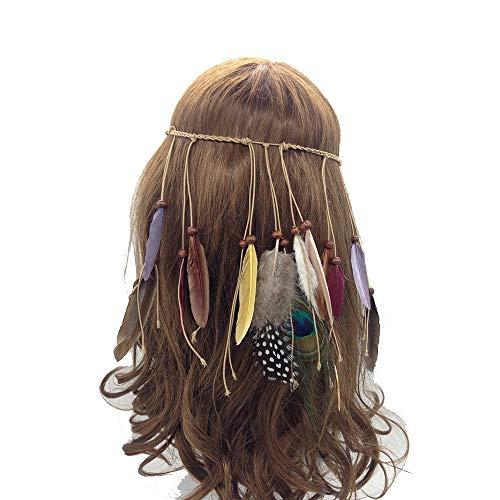 Jurxy Böhmische Pfau Feder Kopfschmuck Stirnband Damen Hippie Boho Indianer Stirnbänder Zigeuner Headwear Weben Frau Mädchen Lieblings Haarschmuck - Braun- Stil (Einfach Niedlich Indischen Kostüm)