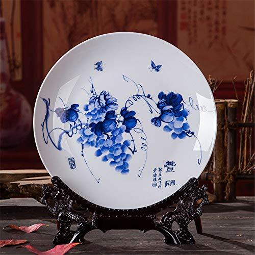 PORCN Obstteller Antike Inmitation künstlerische Blaue und weiße Porzellan Dekoration Platte/Teller mit Obst-Gemälde gedruckt American White Plate