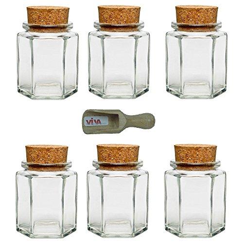 Viva haushaltswaren g2060175/6s/x - vasetti in vetro per spezie/conserve/tè/regalini, 6 pezzi, capacità: circa 175 ml, con tappo in sughero, paletta in legno inclusa
