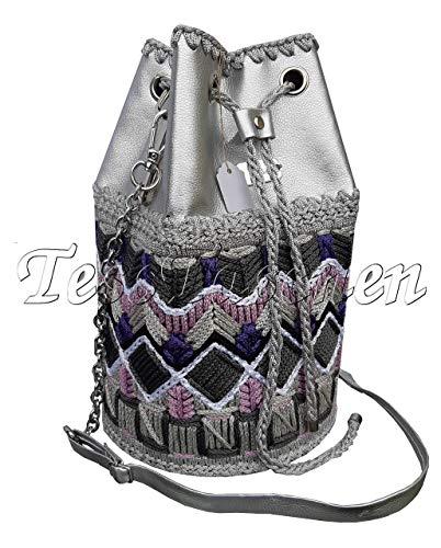Dameh Handtasche Silber Beuteltasche mit Stеickerei und Muster Lila grau Eimertasche mit Ösen und Kordelzug Hobo-Tasche