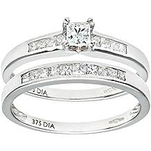 Naava - Set anillos de compromiso y boda de oro blanco 9 k (375) con diamante corte princesa 0.50 ct