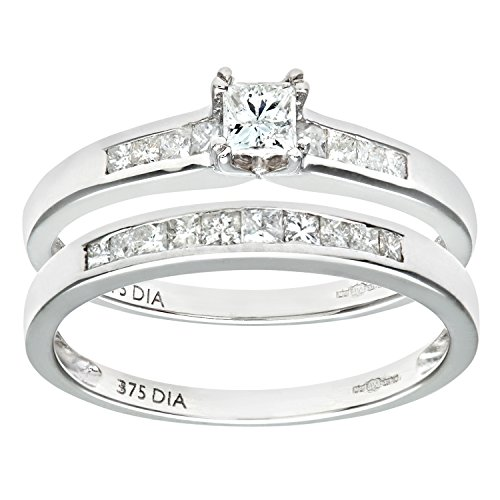 Naava 9ct White Gold Channel Set 0.50ct Princess Cut Diamond Bridal Set Ring