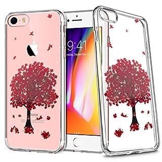 Moozy Transparent Silikon Hülle für iPhone 7 / iPhone 8 - Klar TPU Case Handyhülle mit Rote Blüte Baum Echte Blume Blossom Design Cover