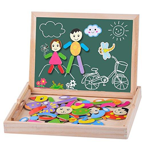 Moveonstep puzzle magnetico legno 70 pcs puzzle di legno magnetico lavagna giochi educativi doppio lati magnetico creazione giocattolo e regalo di natale per bambino 3+ anni