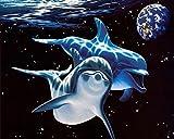 Binggong Liebe Delfine DIY 5D Diamant Stickerei Malerei Kreuzstich Wohnkultur Handwerk Delphin Ozeanwelt Dekoration Wohnzimmer Zimmer (30 * 25cm, H)