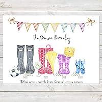 Wellington Boot Family Print, Personalised Wellies Rain Boot Welly Art Gift