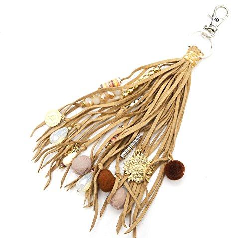 pt1104d-Schlüsselanhänger/-Schmuckstück tasche-Multi Fransen Wollfilz beige mit Charm Kopf indischen, Perlen und Pompons Kugel