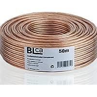 BLCA 50m 2x2,5mm² Lautsprecherkabel CCA | Boxenkabel isoliert transparent mit Polaritätskennzeichnung | LS-Kabel ALS Meterware für Stereoanlage etc.
