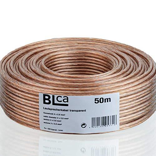 BLCA 50m 2x2,5mm² Lautsprecherkabel CCA I Boxenkabel isoliert transparent mit Polaritätskennzeichnung I LS-Kabel als Meterware für Stereoanlage etc.
