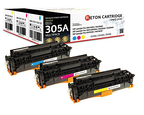 Preisvergleich Produktbild Original Reton Toner,  kompatibel,  3er Farbset für HP PRO 400 COLOR MFP M475DN (CE411A,  CE412A,  CE413A),  HP 305A,  LASERJET PRO 300 COLOR M375NW,  M451,  M451DN,  M451DW,  M451NW,  M475,  M475DW