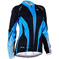 423a2c85b NUCKILY Women s Custom Design Sublimation Print Winter Fleece Long Sleeve Cycling  Jersey Blue XX-Large