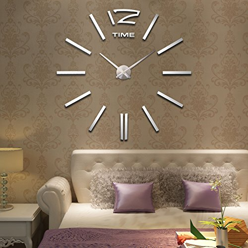 Hie hot sale extra large wall clocks roman numeral clock home decorative diy frameless wall clocks for living room mural wall sticker