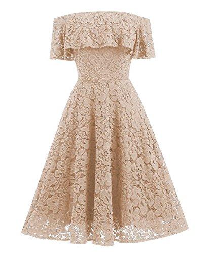 Damen Elegant Vintage Kleider Off Schulter Schwingen Pinup Rockabilly Abendkleid Spitzenkleid...