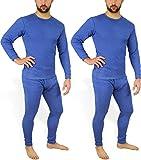 normani 2 x Herren Thermo Unterwäsche - Ski Unterwäsche Garnitur - Lange Unterhose und Hemd - Thermounterwäsche Set Farbe Blau Größe M