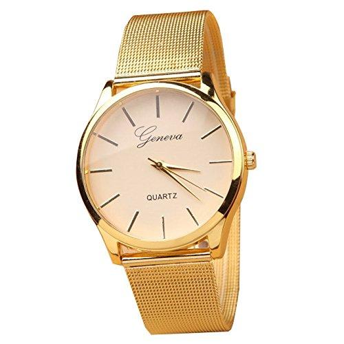 XLORDX Geneva Montre Bracelet Or Maille Acier Inoxydable Quartz Femme Unisexe Wrist Watch Mode