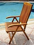 SAM® Akazienholz Hochlehner Santana, Gartenstuhl, Liegestuhl, FSC® 100% zertifiziert, 5fach verstellbar, zusammenklappbarer Stuhl, ideal für Balkon Garten und Terrasse, leicht zu verstauen